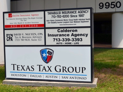 The Texas Tax Group corporate office sign.