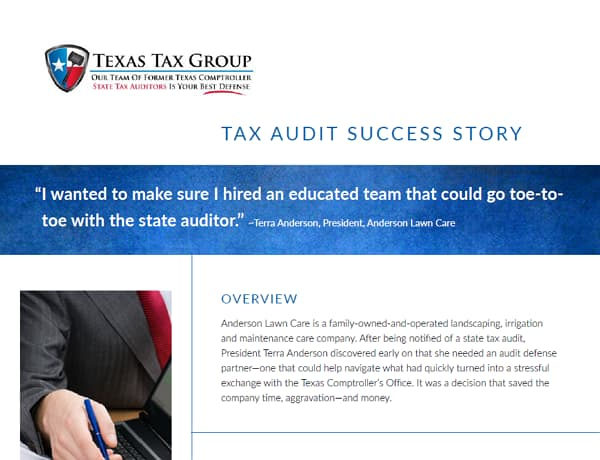 Texas State Tax Audit Anderson Lawn Care Texas Tax Group